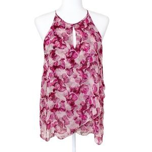 Cynthia Rowley Silk Pink Floral Tiered Blouse M